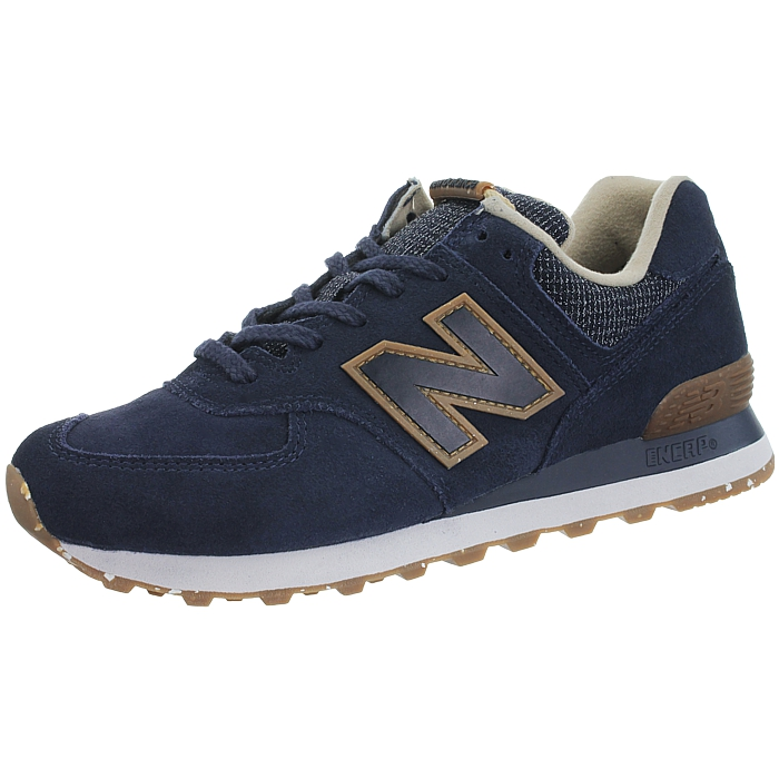 Details about NEW Balance ML574 Mens Leather Trainer Shoes Blue Charcoal  Grey Classic- show original title