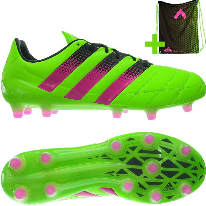 pretty nice e40f9 36fda Details about Adidas ACE 16.1 FG AG LEA green Leather Soccer Boots Shoes  Studs NEW