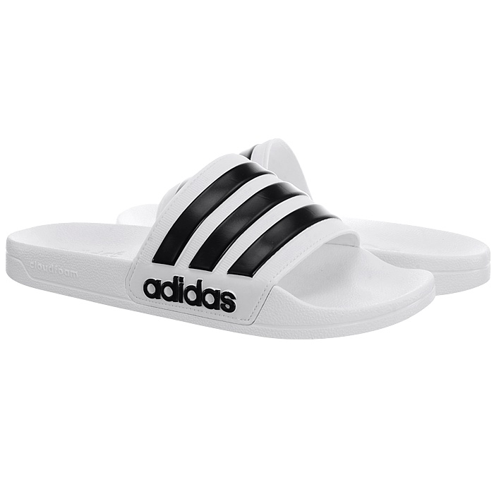 17aae27573e Adidas Adilette Cloudfoam men s sliders black white pool sandals ...