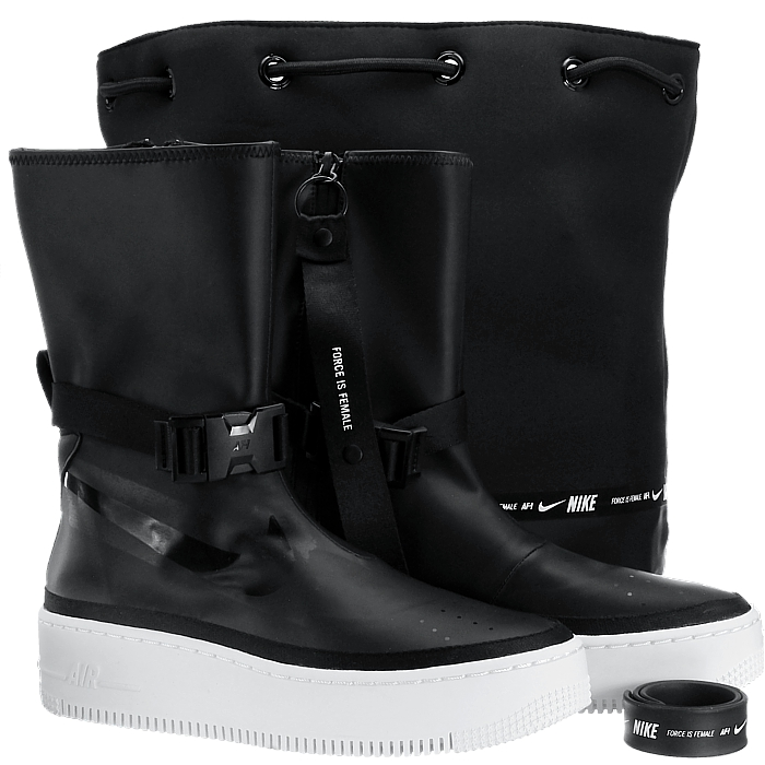 online retailer 09031 c24cb Details about Nike Wmns Air Force 1 Sage High black women's boots booties  platform NEW