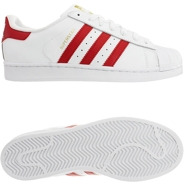 a959ae1c1688d6 Details about Adidas Superstar Foundation men s low-top sneakers red or  blue leather NEW