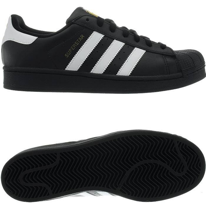Adidas-Superstar-weis-oder-schwarz-Herren-Leder-low-top-Sneakers-Kult-Schuhe-NEU miniatuur 5