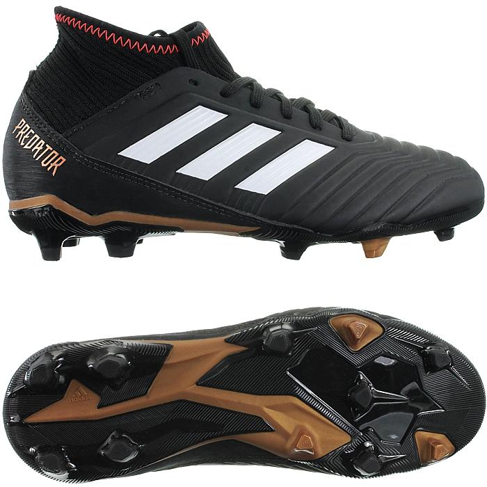 Adidas Predator 18.3 FG J black white boys' soccer football boots ...