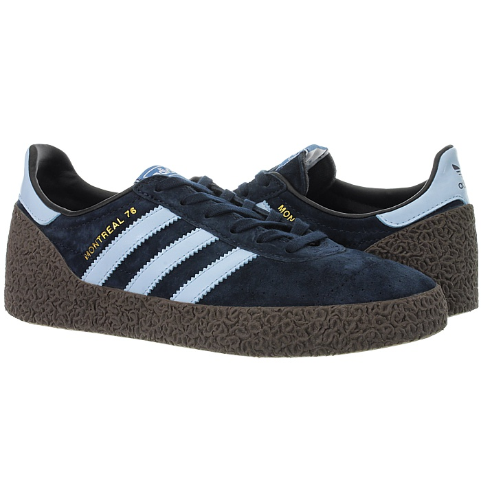 Details about Adidas Montreal men's low top sneakers blue black casual shoes leather NEW
