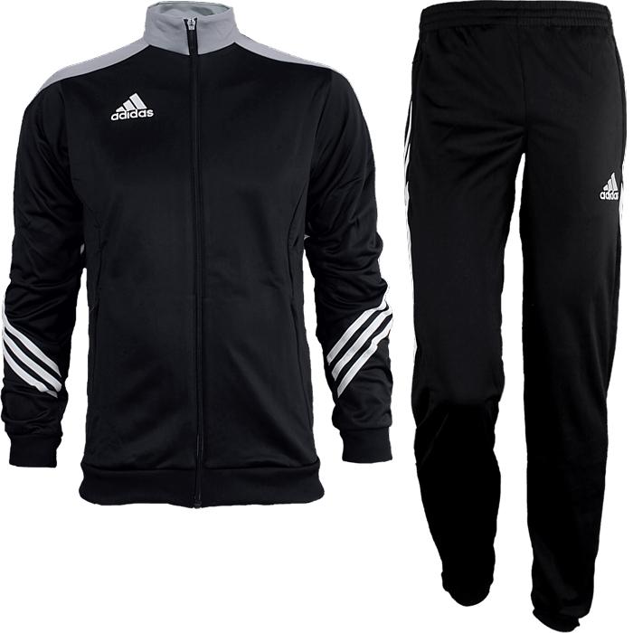 30e69f650fe Adidas Sereno 14 men s track suit black gray white jogging sports ...