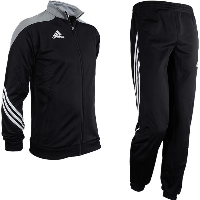 Adidas Sereno 14 men s track suit black gray white jogging sports ... 8f2b824f8b263