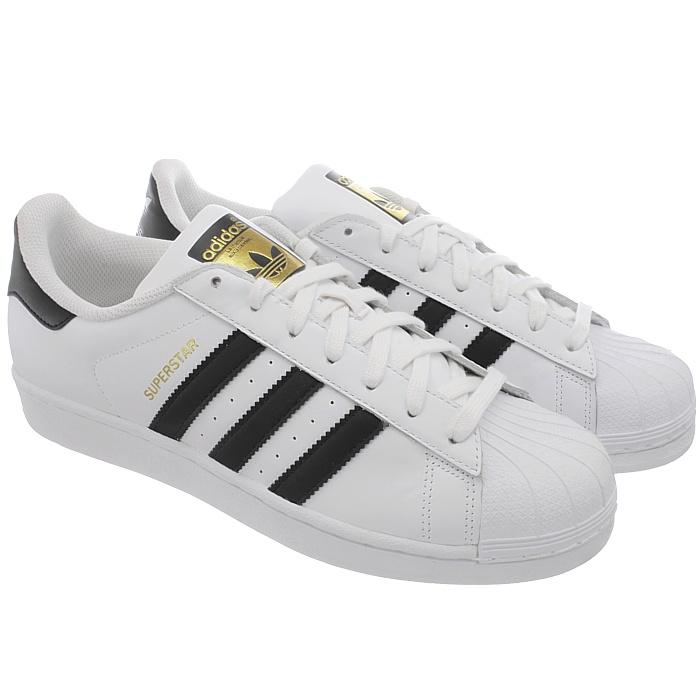 Adidas-Superstar-weis-oder-schwarz-Herren-Leder-low-top-Sneakers-Kult-Schuhe-NEU miniatuur 8