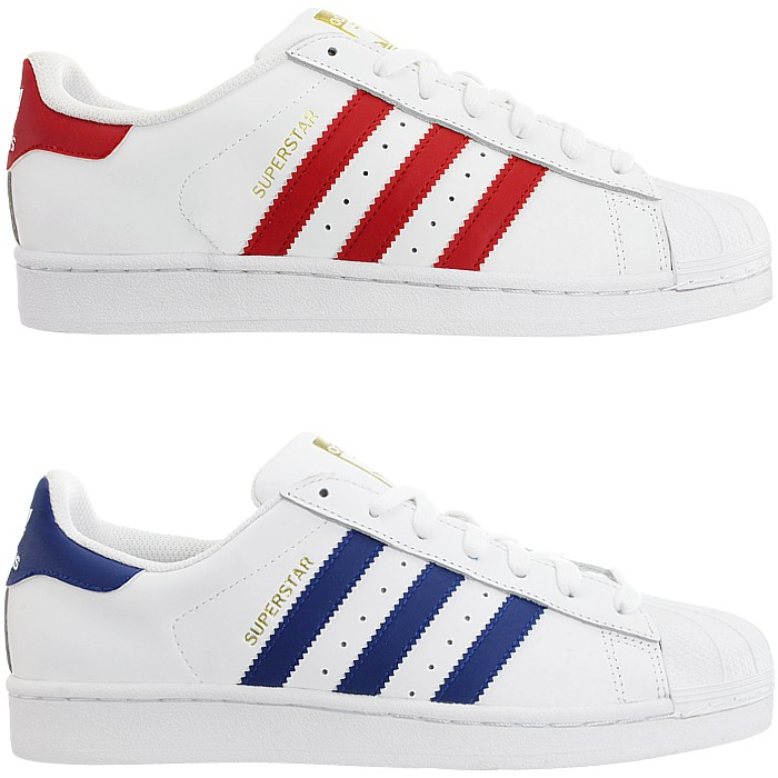 sports shoes 3c16e 192fd Details about Adidas Superstar Foundation men s low-top sneakers red or  blue leather NEW
