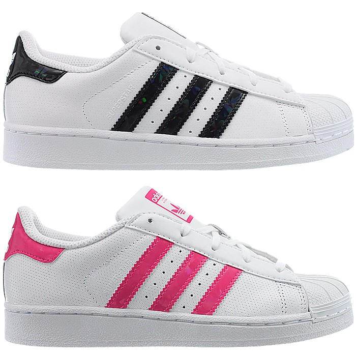 0b151593 Details about Adidas Superstar 2 C kid's sneakers white/black white/pink  low-top leather NEW